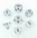 CHX27401 Clear w/Black Frosted Set of 7 Dice by Chessex