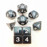 KOP10024 Black Glitter Dice With White Numbers Set 10pc Dice