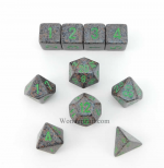KOP09979 Earth Elemental Dice With Green Numbers Set 10pc Dice