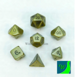 CYC02605 Antique Gold Hue Dwarven Metal Dice 16mm 7 Piece Set Crystal Caste