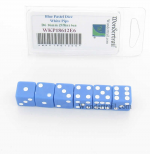 WKP18612E6 Blue Pastel Dice D6 with White Pips 16mm (5/8in) Pack of 6