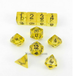 KOP09956 Yellow Transparent Dice With Black Numbers Set 10pc Dice