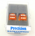 KOP00013 Yellow Transparent D6 Precision Backgammon Dice White Pips