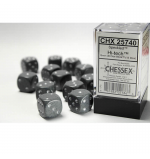 CHX25740 Hi Tech Speckled D6 Dice With Silver Pips 16mm Pack of 12
