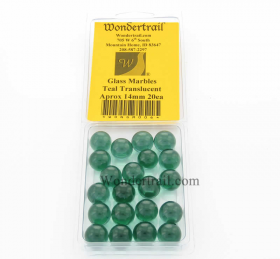 WONGM006 Teal Transparent 14mm Glass Marbles Pack of 20