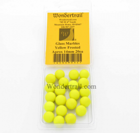 WONGM034 Yellow Frosted Marbels 14mm Glass Marbles Pack of 20