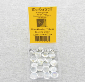 WON0098 Electric Clear Transparent Gaming Counter Tokens Aprox 15mm Pack of 22