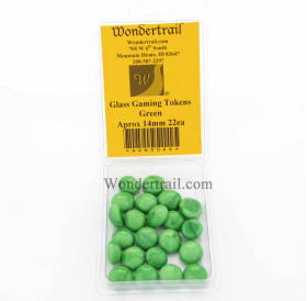 WON0066 Green Gaming Counter Tokens Aprox 14mm Pack of 22