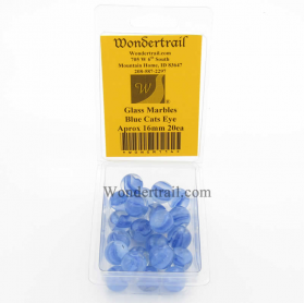 WONGM114 Blue Cats Eye 16mm Glass Marbles Pack of 20