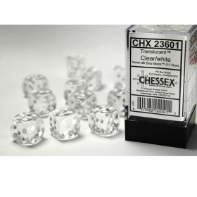 CHX23601 Clear Translucent D6 Dice White Pips 16mm Pack of 12