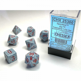 CHX25300 Air Speckled Dice Red Numbers 16mm Set of 7