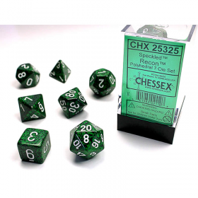 CHX25325 Recon Speckled Dice with White Numbers 16mm (5/8in) Set of 7