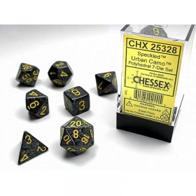 CHX25328 Urban Speckled Dice Yellow Numbers 16mm Set of 7