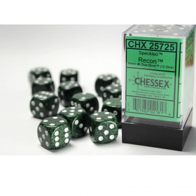 CHX25725 Recon Speckled D6 Dice with White Pips 16mm (5/8in) Pack of 12