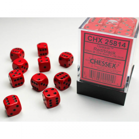 CHX25814 Red Opaque D6 Dice Black Pips 12mm Pack of 36