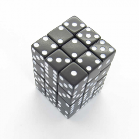 KOP01828 Black Opaque Squared Corner Dice White Pips D6 12mm Pack of 36