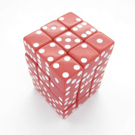 KOP01834 Red Opaque Squared Corner Dice White Pips D6 12mm Pack of 36
