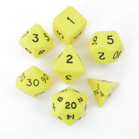 KOP13043 Yellow Jumbo Polyhedral 31mm (1.25in) 7 Piece Dice Set