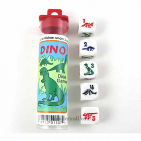 KOP01507 Dino Dice Game White Opaque Six Sided Dice (D6) 16mm (5/8in)