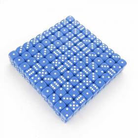 KOP11471 Blue Opaque Dice White Pips D6 16mm (5/8in) Bulk Pack of 200