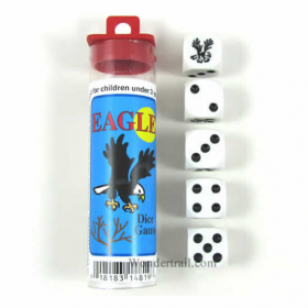 KOP14819 Eagle Dice Game White Opaque Dice Black Pips D6 16mm