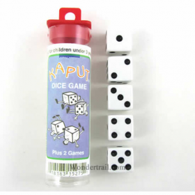 KOP15275 Kaput Dice Game White Opaque Dice with Black Pips D6 16mm