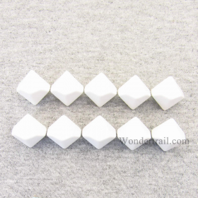 CHX29034 White Blank Dice with No Pips D10 16mm (5/8in) Pack of 10