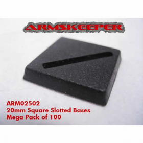 ARM02502 Square Slotted 20mm Miniature Bases Mega Pack of 100