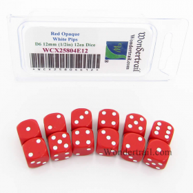 WCX25804E12 Red Dice with White Pips D6 12mm (1/2in) Pack of 12
