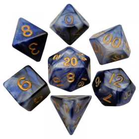MET120 Blue and White Resin Dice with Gold Numbers 16mm (5/8in) 7-Dice Set Metallic Dice Games