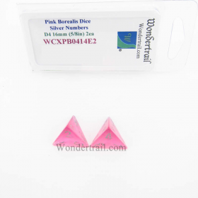 WCXPB0414E2 Pink Borealis Dice with Silver Numbers D4 Aprox 16mm (5/8in) Pack of 2 Wondertrail