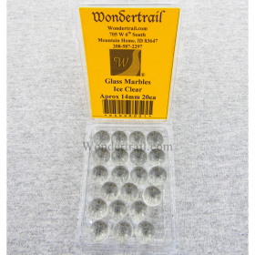 WONGM001 Ice Clear Transparent 14mm Glass Marbles Pack of 20
