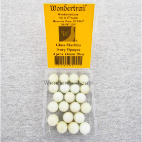 WONGM014 Ivory Opaque 14mm Glass Marbles Pack of 20
