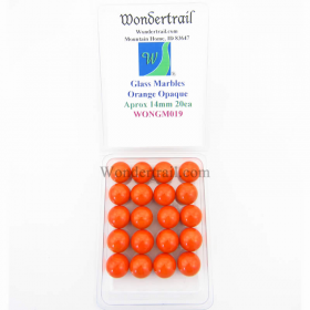 WONGM019 Orange Opaque 14mm Glass Marbles Pack of 20