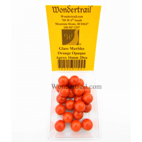 WONGM100 Orange Opaque 16mm Glass Marbles Pack of 20
