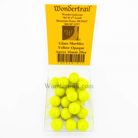 WONGM101 Yellow Opaque 16mm Glass Marbles Pack of 20