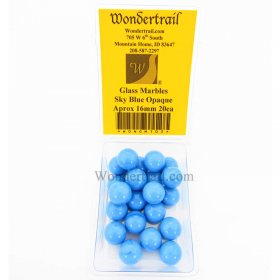 WONGM103 Sky Blue Opaque 16mm Glass Marbles Pack of 20