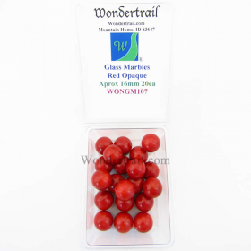 WONGM107 Red Opaque 16mm Glass Marbles Pack of 20