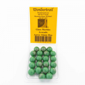 WONGM037 Avocado Marbels 14mm Glass Marbles Pack of 20
