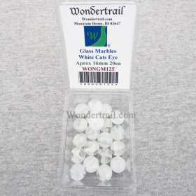 WONGM125 White Cats Eye 16mm Glass Marbles Pack of 20