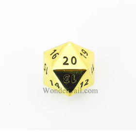 Cyc02150 Gold Coloered Metal Dice D20 33mm Pack Of 1