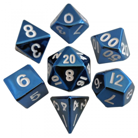 MET012 Blue Painted Solid Metal Dice Polyhedral 16mm (5/8in) 7-Dice Set