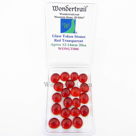 WONGT006 Red Transparent Glass Tokens 12-14mm Aprox .50in Pack of 20