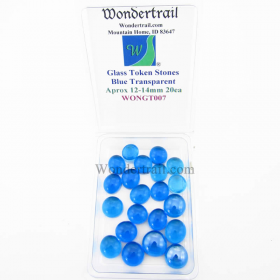 WONGT007 Blue Transparent Glass Tokens 12-14mm Aprox .50in Pack of 20