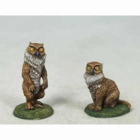 Dsm4636 Owlbear Cubs Male And Female Warrior With Dagger And Shield Miniature Diterlizzi Masterworks