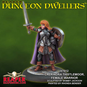 Rpr07012 Caerindra Thistlemoor Female Warrior Miniature Dungeon Dwellers Reaper Minitures