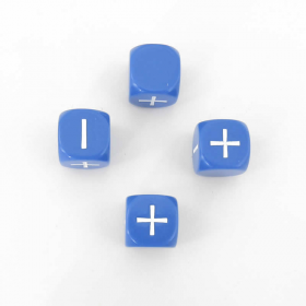 GGG9004BL Blue 6 Sided 4 Fudge Dice With White Plus And Minus Signs Grey Ghost Press