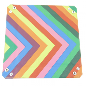 MET534 Velvet Folding Dice Tray 10x10 Inch Rainbow Color Metallic Dice Games