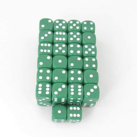 WKP10881E50 Green Opaque Dice with White Pips D6 16mm Pack of 50