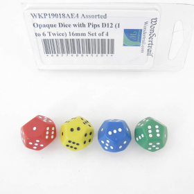 WKP19018AE4 Assorted Opaque Dice with Pips D12 (1 to 6 Twice) 16mm Set of 4
